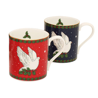 Fine Bone English China | Dove of Peace Mug Set | Blue and Red | Halcyon Days | Made in England