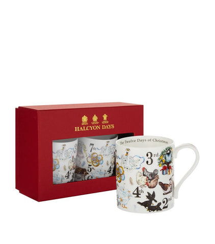 Halcyon Days The Twelve Days of Christmas Mugs, Set of 2-Bone China-Sterling-and-Burke