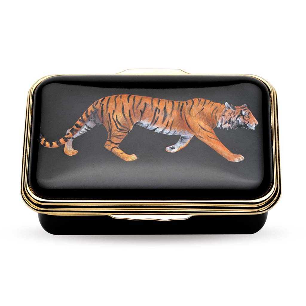Enamel Box | Magnificent Wildlife Tiger Box | Halcyon Days | Made in England-Enamel Box-Sterling-and-Burke