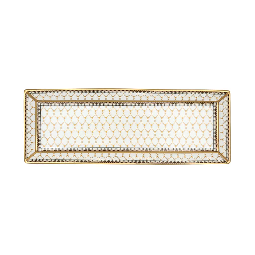 Fine English Bone China | Trinket Tray | Antler Trellis | Rectangular | Ivory | Halcyon Days | Made in England-Trinket Tray-Sterling-and-Burke