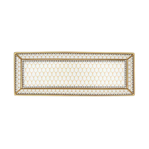 Fine English Bone China | Trinket Tray | Antler Trellis | Rectangular | Ivory | Halcyon Days