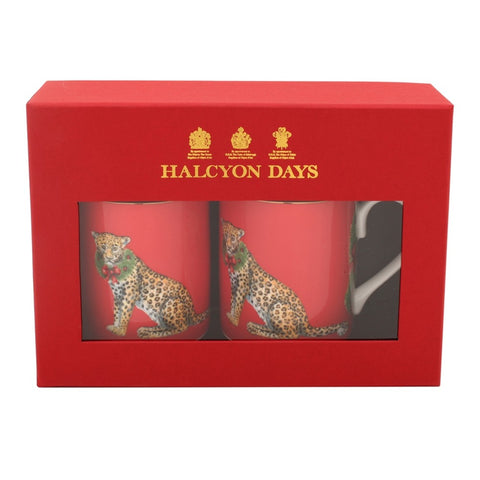 Halcyon Days Festive Leopards Mugs in Red, Set of 2