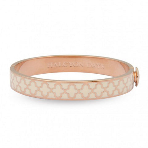 Agama Hinged Bangle, Cream and Rose Gold | Halcyon Days | Made in England