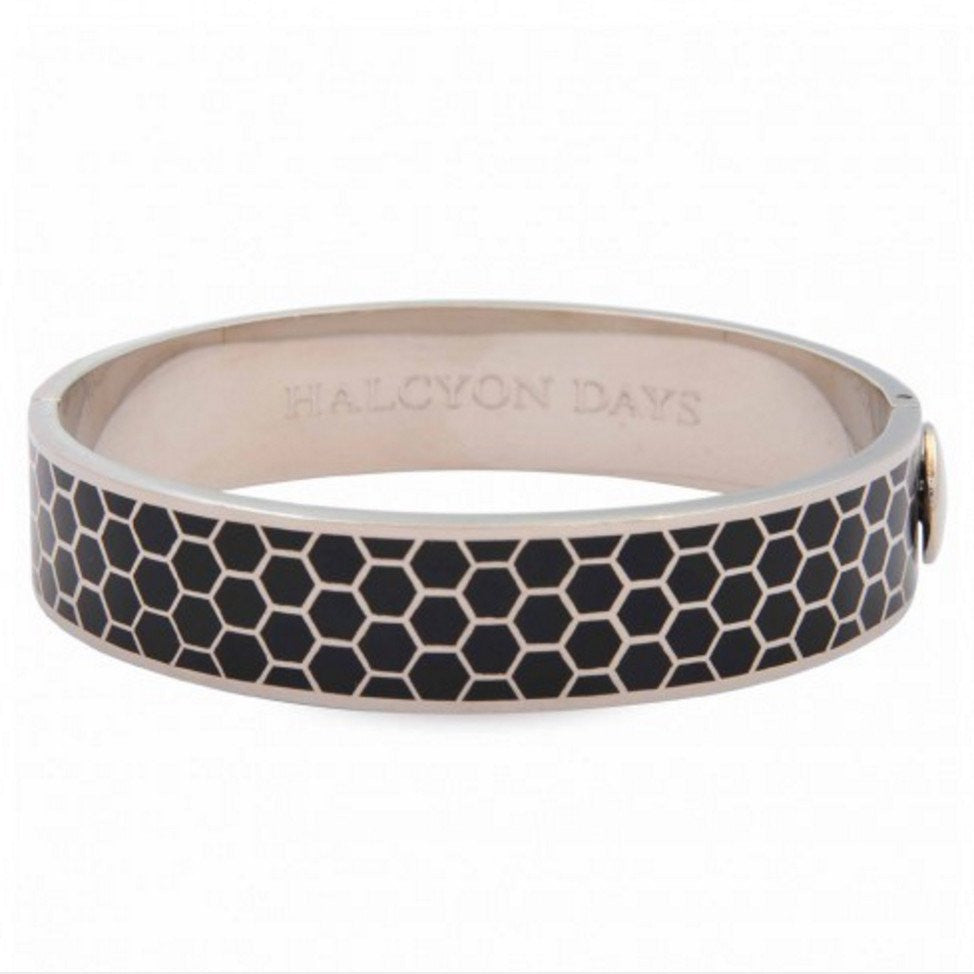 Enamel Bangle | 1cm Honeycomb Hinged Black and Palladium Bangle | Halcyon Days | Made in England-Bangle-Sterling-and-Burke