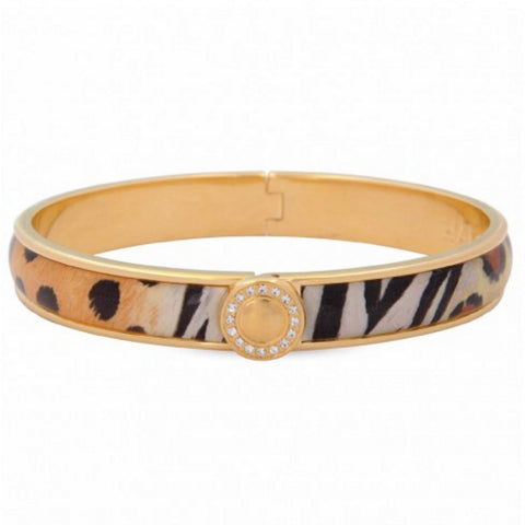 Enamel Bangle | 1cm Sparkle Button Hinged Bangle | Animal and Gold | Halcyon Days | Made in England