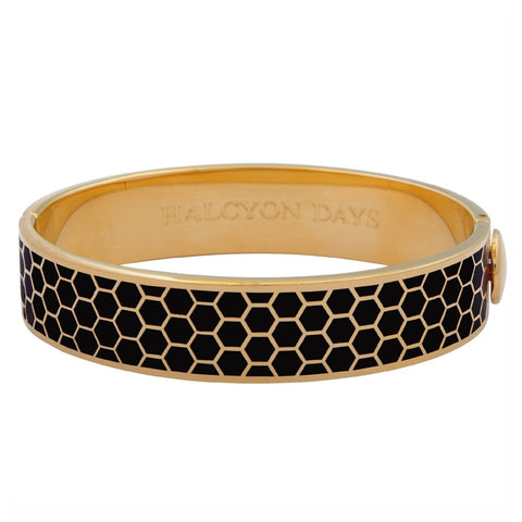 Enamel Bangle | 13mm Honeycomb Hinged Bangle | Black and Gold | Halcyon Days | Made in England-Bangle-Sterling-and-Burke