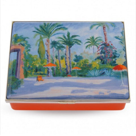 Enamel Prestige Box | Garden of Mamounia by Sir Churchill Enamel Box | Halcyon Days | Made in England-Prestige Box-Sterling-and-Burke