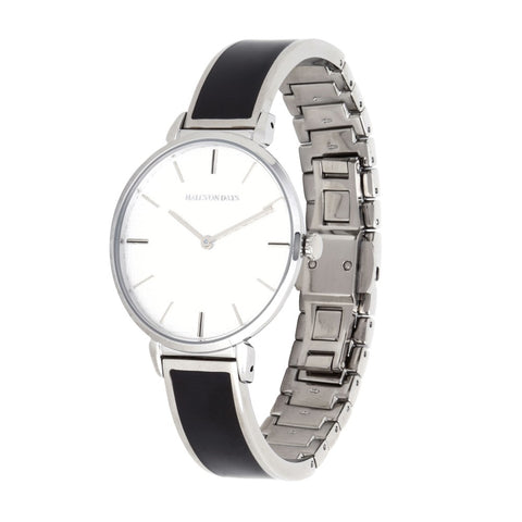 Maya Plain Bangle Strap Watch | Black and Palladium | Halcyon Days | Made in England