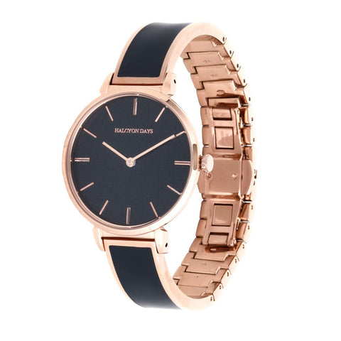 Halcyon Days Maya Plain Enamel Bangle Strap Watch in Navy and Rose Gold