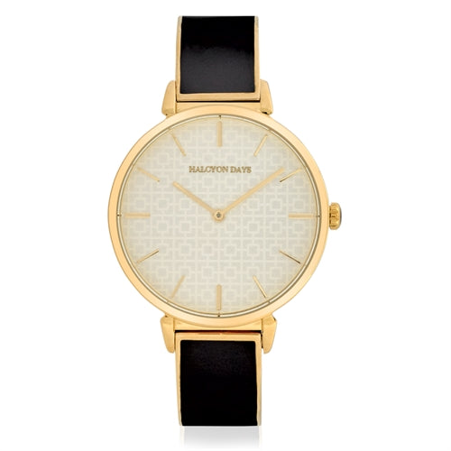 Halcyon Days Maya Plain Enamel Bangle Strap Watch in Black and Gold-Jewelry-Sterling-and-Burke