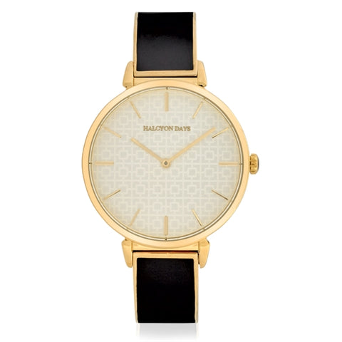 Halcyon Days Maya Plain Enamel Bangle Strap Watch in Black and Gold
