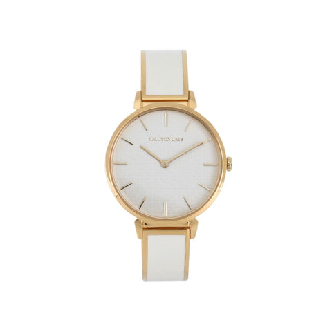 Maya Plain Bangle Strap Watch | Cream and Gold | Halcyon Days | Made in England