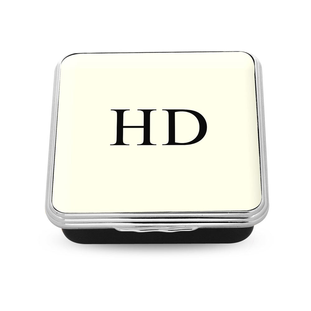 Halcyon Days Monogrammed Square Enamel Box-Enamel Box-Sterling-and-Burke