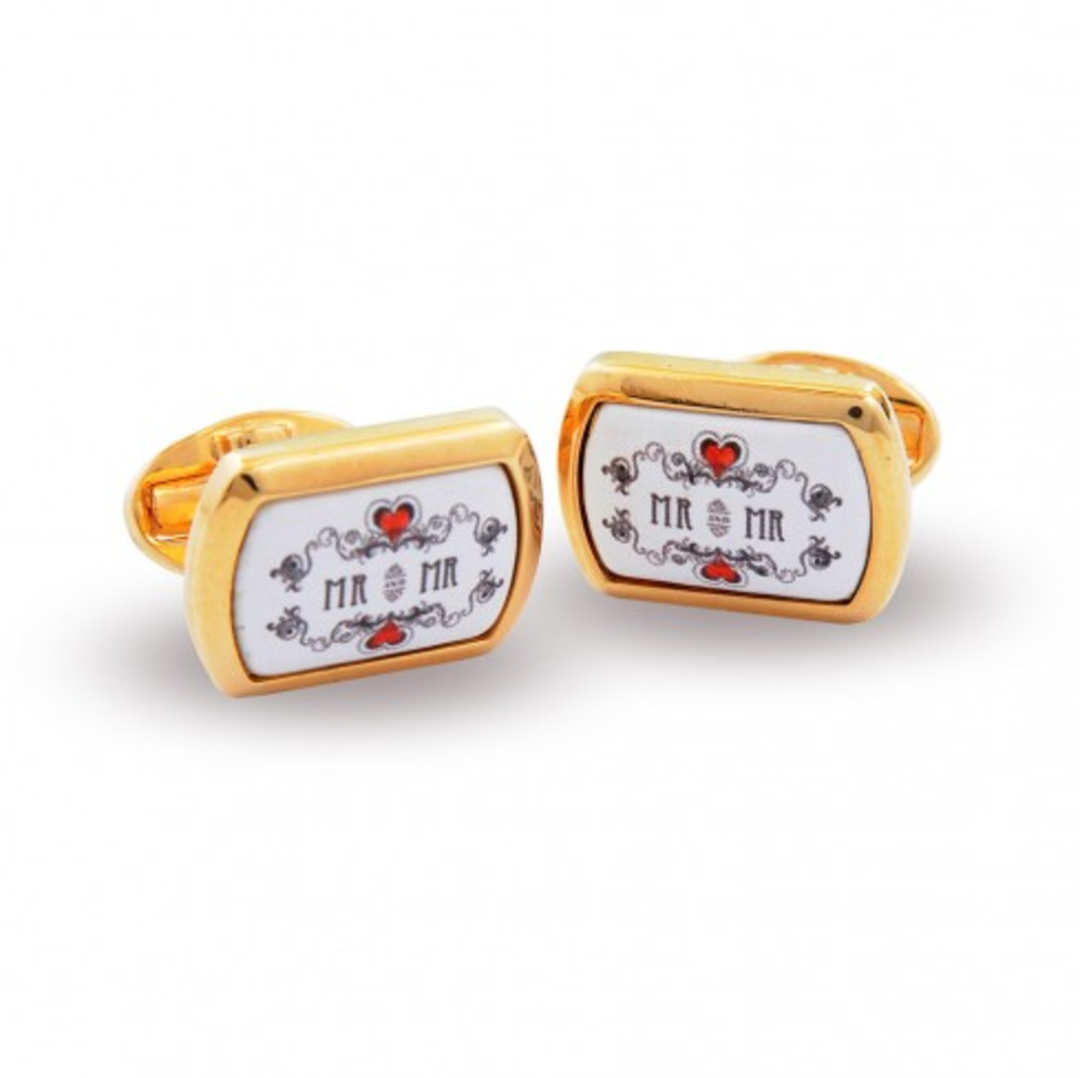 Halcyon Days Mr & Mr Enamel Cufflinks in Gold-Enamel Cufflinks-Sterling-and-Burke