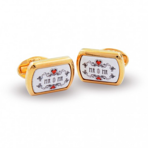 Enamel Cufflinks | Mr & Mr Enamel Cufflinks | Halcyon Days | Made in England