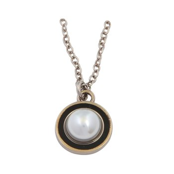 Enamel Pendant | Cabochon Pearl Charm Pendant Necklace | Black and Palladium | Halcyon Days | Made in England