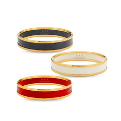Enamel Bangle | Push Bangle | Black and Gold | Halcyon Days | Made in England-Bangle-Sterling-and-Burke
