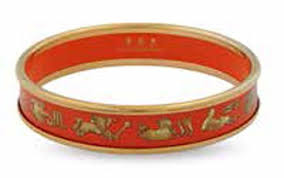 Halcyon Days 1cm Star Sign Push Enamel Bangle in Orange and Gold-Jewelry-Sterling-and-Burke