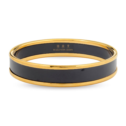 Enamel Bangle | 1cm Push Bangle | Black and Gold | Halcyon Days | Made in England