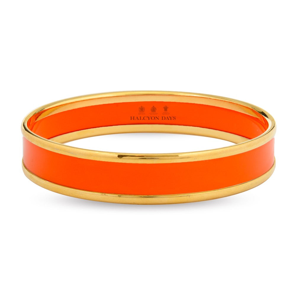 Halcyon Days 1cm Push Enamel Bangle in Orange and Gold-Jewelry-Sterling-and-Burke