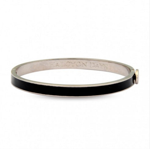 Skinny Plain Hinged Bangle, Black & Palladium