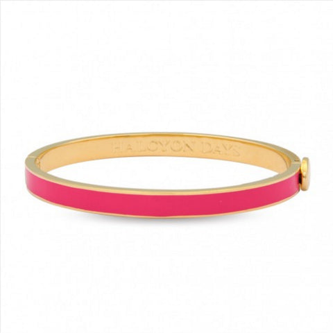 Enamel Bangle | 6mm Skinny Plain Hot Pink and Gold Bangle | Halcyon Days | Made in England-Bangle-Sterling-and-Burke