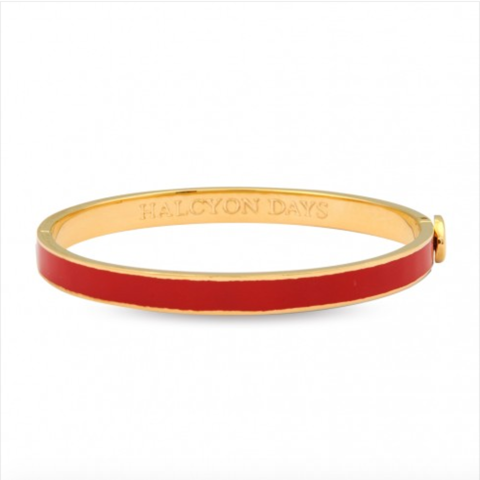 Skinny Plain Hinged Bangle, Red & Gold-Bangle-Sterling-and-Burke
