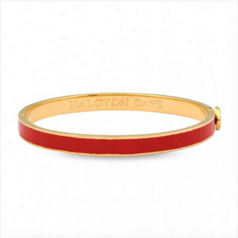 Halcyon Days 6mm Skinny Plain Hinged Enamel Bangle in Red and Gold-Jewelry-Sterling-and-Burke