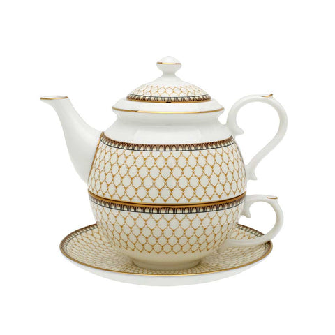 Fine English Bone China | Tea for One | Antler Trellis | Ivory | Halcyon Days