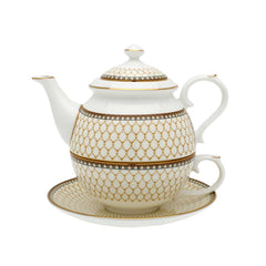Fine English Bone China | Tea for One | Antler Trellis | Ivory | Halcyon Days | Made in England-Tea Set-Sterling-and-Burke
