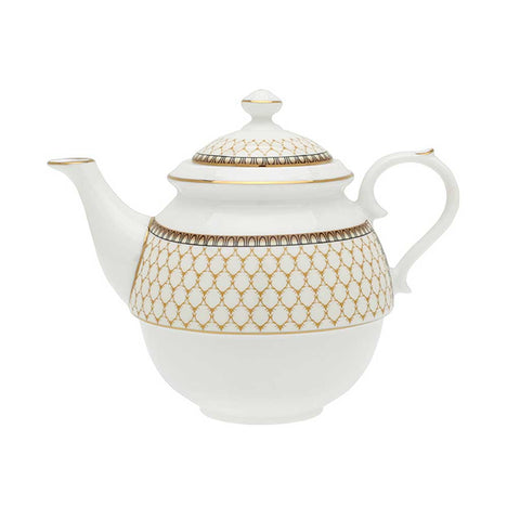 Halcyon Days Antler Trellis Tea for One in Ivory-Bone China-Sterling-and-Burke
