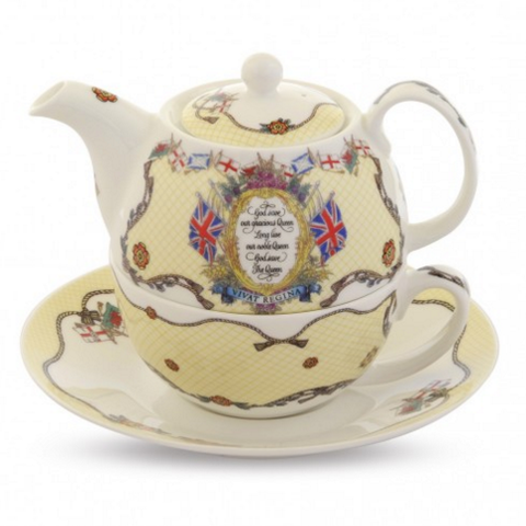 Halcyon Days Vivat Regina Tea for One-Bone China-Sterling-and-Burke