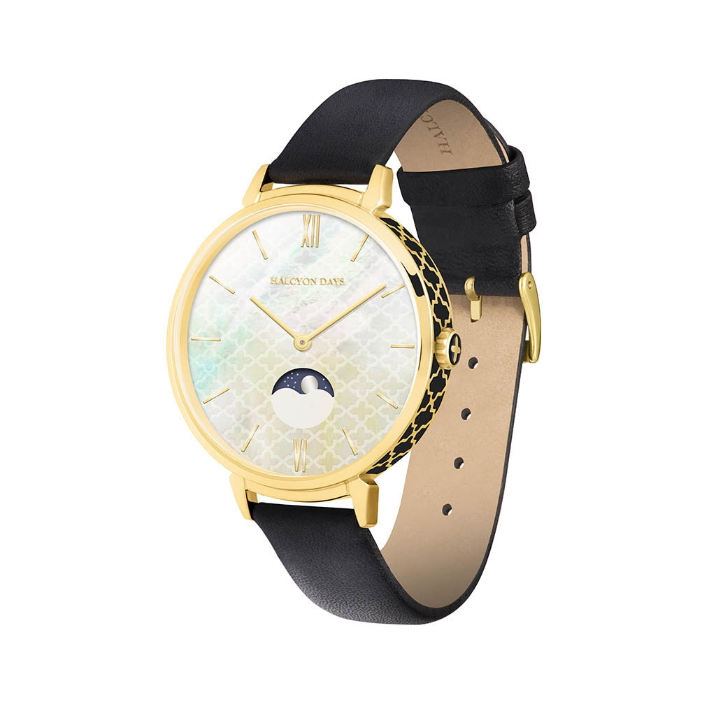 Agama Moonphase Watch | Black Enamel on Gold | Halcyon Days | UK Made | Currently Unavailable-Ladies Watch-Sterling-and-Burke