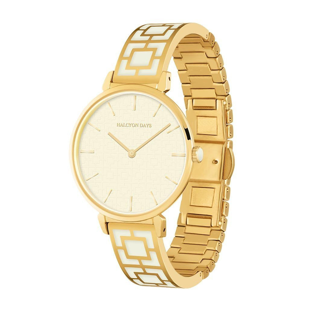 Maya Bangle Strap Watch, Cream & Gold | Halcyon Days | Made in England-Ladies Watch-Sterling-and-Burke