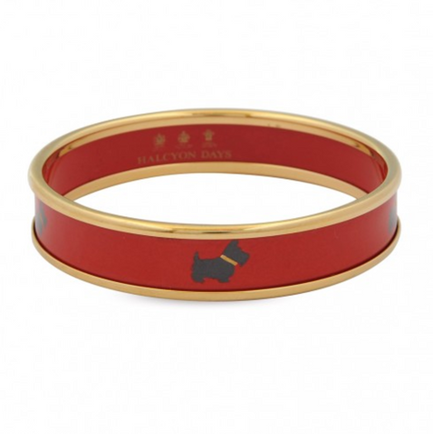 Scottie Push Bangle, Red & Gold
