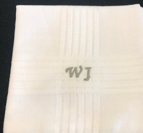 Handkerchief | All Cotton | Gentleman's Handkerchief with Monogram | White Cotton | Made in USA