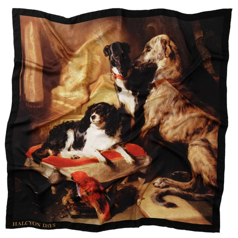 Halcyon Days Silk Shawl | Hector, Nero, and Dash | Black | Large Silk Scarf | 48 by 48 Inches | Made in England
