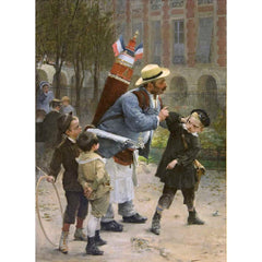 Antique Oil Painting | He Who Breaks the Glasses Must Pay, 1881 by Henry Jean Jules Geoffroy | 34 x 26-3/4 Inches-Oil Painting-Sterling-and-Burke