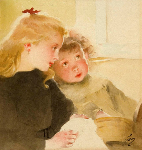 Antique Watercolor on Paper | La lecon de couture (The Sewing Lesson) by Henry Jean Jules Geoffroy | 20.5 by 20 Inches-Watercolor-Sterling-and-Burke