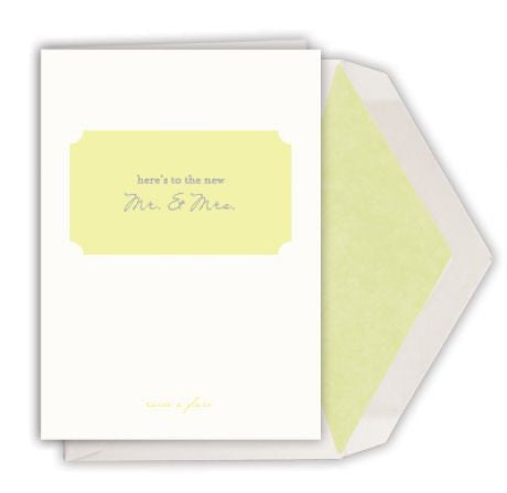 HERE'S TO THE NEW MR. AND MRS. Single Card by Dempsey and Carroll-Stationery-Sterling-and-Burke