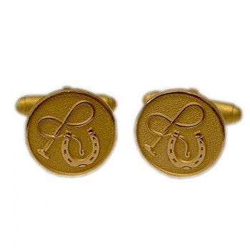 Horseshoe and Whip Gilt Cufflinks-Cufflinks-Sterling-and-Burke