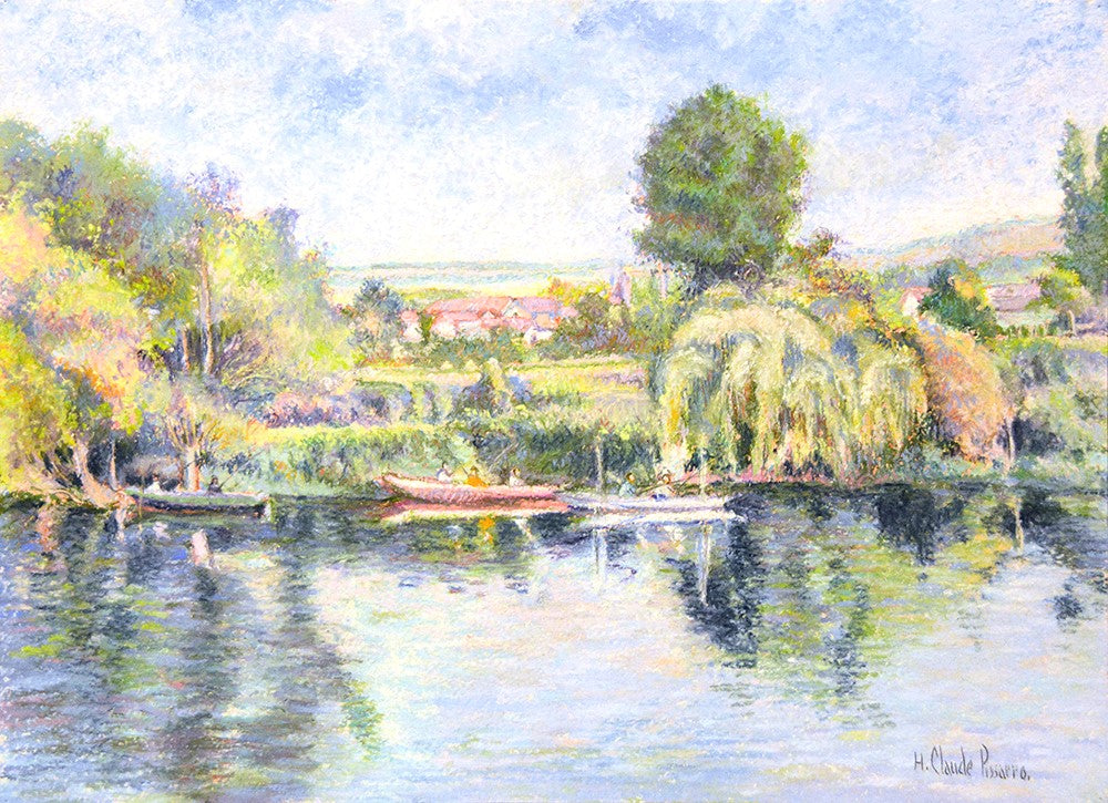 "Antique Pastel on Card | La peche-au-coup a Gloton (bords de Seine), ca. 2010 by Hughes Claude Pissarro | 19"" x 24-1/2""-Pastel-Sterling-and-Burke"