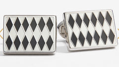 Halcyon Days Parterre Cufflinks in Black, Cream and Palladium-Enamel Cufflinks-Sterling-and-Burke