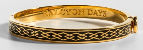 Halcyon Days 6mm Skinny Parterre Chain Enamel Bangle in Black and Gold