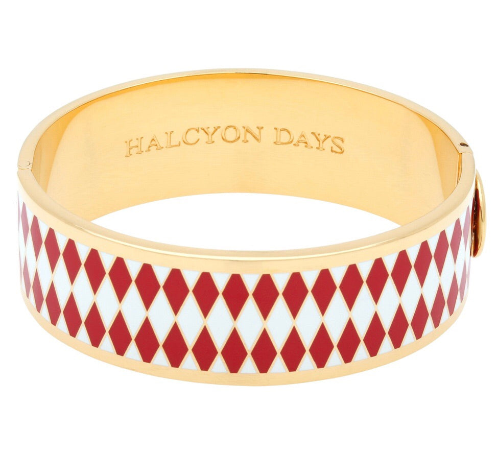 Halcyon Days 19mm Parterre Hinged Enamel Bangle in Red, Cream, and Gold-Jewelry-Sterling-and-Burke