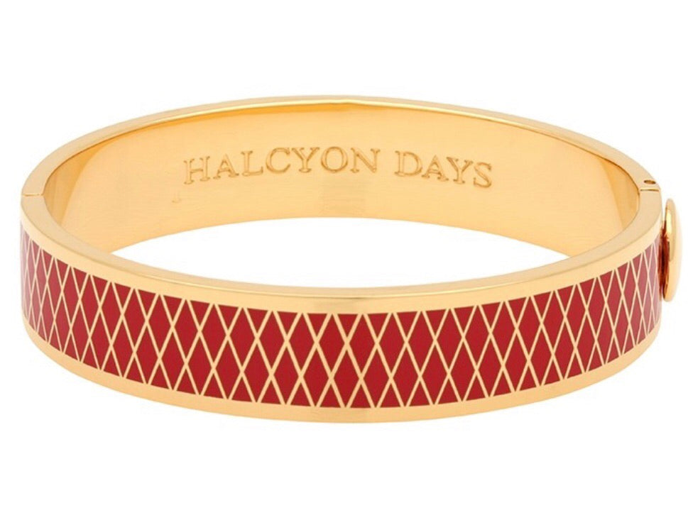 Enamel Bangle | 13mm Parterre Red and Gold Bangle | Halcyon Days | Made in England-Bangle-Sterling-and-Burke