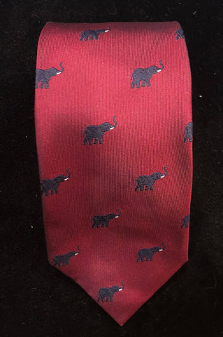 Elephant, Wine and Navy | Silk Tie | Budd Shirtmakers | Made in England-Necktie-Sterling-and-Burke