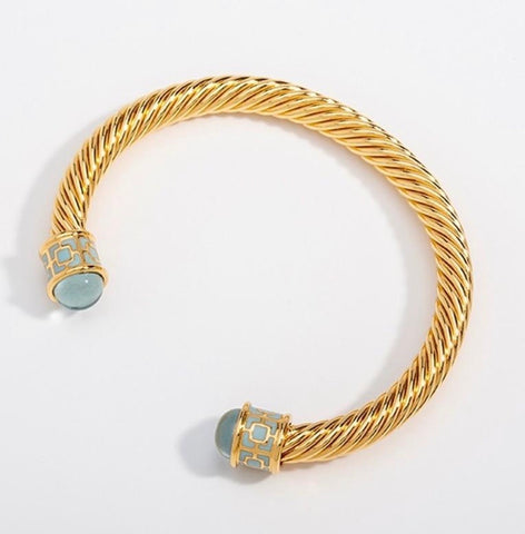 Halcyon Days Maya Open Twist Wire Bracelet in Aquamarine and Gold