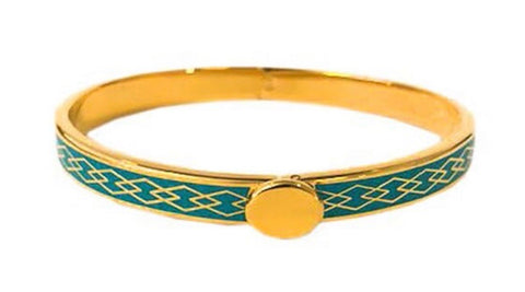 Halcyon Days 6mm Skinny Parterre Chain Enamel Bangle in Turquoise and Gold-Jewelry-Sterling-and-Burke