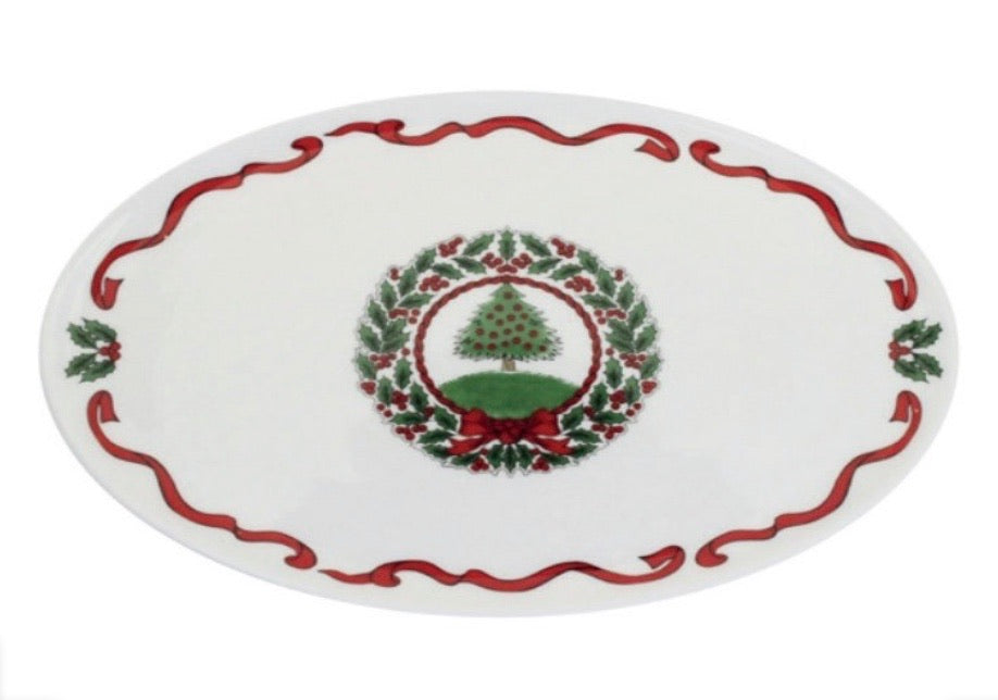 Halcyon Days Vintage Christmas Tree Candy Plate in White-Bone China-Sterling-and-Burke